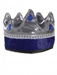 Krone für Kinder Kostümzubehör blau-silber
