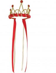 Mittelalterliche Krone für Mädchen Kostümzubehör gold-rot