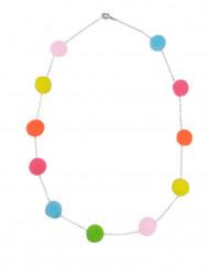 Halskette mit Pompoms Kostümaccessoire bunt