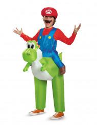 Aufblasbares Nintendo™ Yoshi Kostüm für Kinder grün-blau-rot