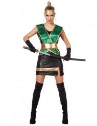 Sexy Ninja Kriegerin für Damen grün-schwarz-gold