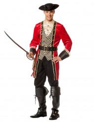 Piratenkapitän Herrenkostüm rot-gold-schwarz