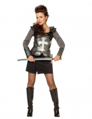 Sexy Ritter-kostüm für Damen silber-grau