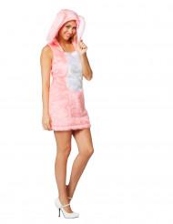 Plüsch Häschenkostüm für Damen rosa