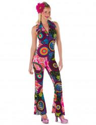 Hippie Jumpsuit mit Blumen für Damen bunt