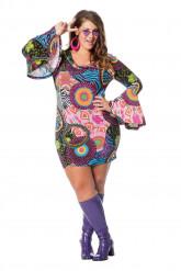 Hippie Kleid für Damen mit Blumen bunt