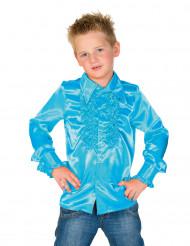 Rüschen Hemd für Kinder hellblau