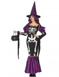 Hexenkostüm violett Skelett für Damen