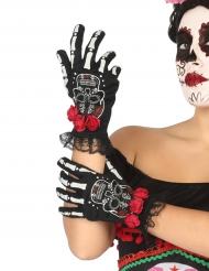 Tag der Toten Skelett-Handschuhe Kostüm-Accessoire schwarz-bunt