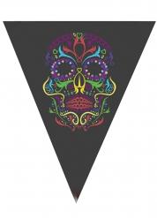 Schwarze Wimpelgirlanden schwarzes Skelett 190cm