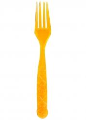6 orange Gabeln mit Totenkopf 18cm