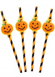 8 gestreifte Strohhalme 20 cm für Halloween
