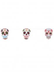 Skelett Girlande dia de los muertos 3 Meter bunt