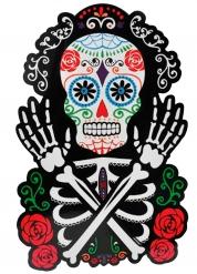 Wanddekoration Skelett dia de los muertos 38 x 25 cm bunt