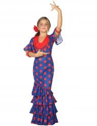 Flamenco-Kostüm für Mädchen blau-rot