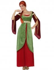 Kostüm mittelalterliche Dame rot und grün
