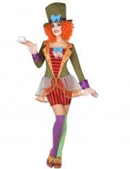 Verrücktes Hutmacherin Kostüm für Damen bunt