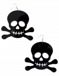 Totenkopf-Ohrringe schwarz