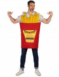 Pommes-Tüte Kostüm für Erwachsene rot-gelb