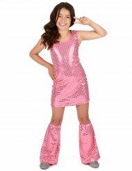 Disco Kinder-Kostüm mit Pailletten rosa