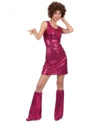 Pailletten-Disco-Kostüm magenta für Damen