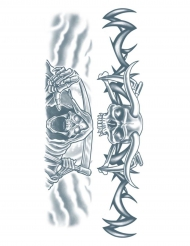 Temporäres Tattoo Sensenmann für Erwachsene blaugrau