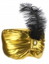 Sultan-Kappe mit Feder gold