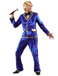 Sänger Disco-Kostüm für Herren blau-gold