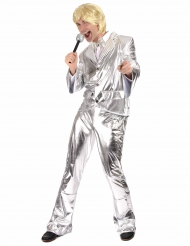 Glänzendes Disco-Kostüm silber für Herren