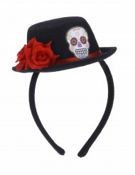 Mini Hut Haareif mit roter Blume für Erwachsene