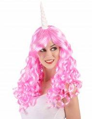 Pinke Einhorn-Perücke für Damen