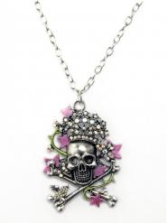 Totenkopf-Halskette Skull silber-rosa