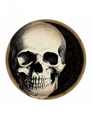 Halloween-Packung - 10 Pappteller mit Totenschädel - 23 cm