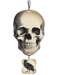 Aufhänger mit Schädel und Rabe für Halloween