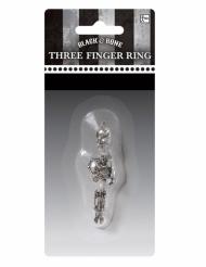 Skelett-Ring Halloween-Accessoire Dreifinger silber