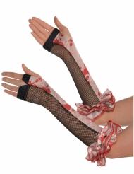 Netzhandschuhe mit blutigen Fingern für Halloween