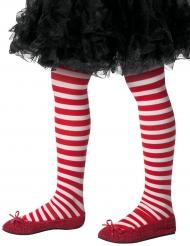 Gestreifte Strumpfhose für Kinder rot-weiß