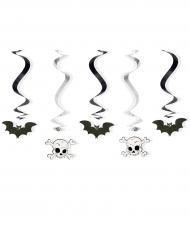 Dekorations-Spiralen für Halloween 5 Stück schwarz-weiss 60cm