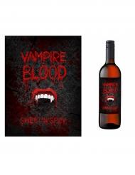 Halloween-Flaschenetiketten Vampirgebiss 10 Stück schwarz-rot-weiss 9,5x12,5cm
