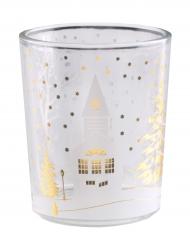 Teelichtglas mit Weihnachtsdorf
