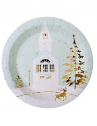 Winterliche Pappteller Weihnachten Hirsch 10 Stück weiss-gold 23cm