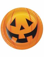 8 Pappteller Kürbis Halloween 18 cm