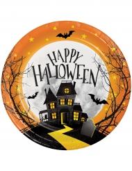 Süße Pappteller Tischdekoration für Halloween 8 Stück schwarz orange 18cm
