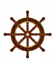 Steuerrad mit Kompass Wanddekoration Seemann braun