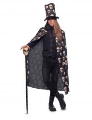 Umhang Totenschädel mit Zylinder-Hut Erwachsene Halloween