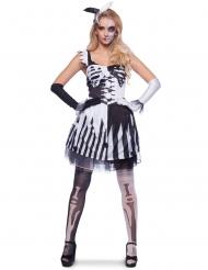 Harlekin-Skelett Damenkostüm für Halloween schwarz-weiss