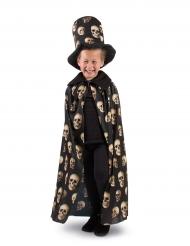 Zylinder und Umhang mit Totenköpfen Halloween