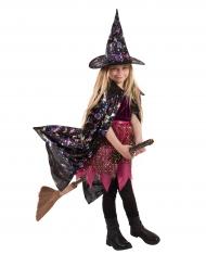 Umhang Hexe mit holographischen Mustern Kinder