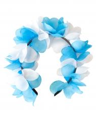 Blumen Haarkranz weiß-blau