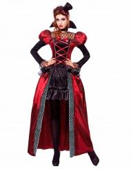 Vampir Damen-Kostüm mit Mini-Zylinder schwarz-rot-weiss